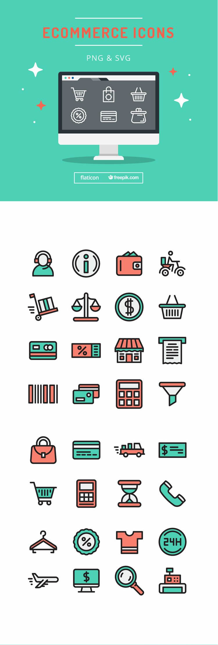 he Flat & Stroke eCommerce Icon Set